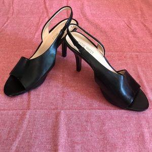 Nine West Black Open Toe Heels Size 7.5